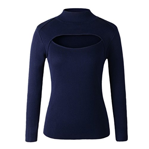 QIYUN.Z Manches Longues Sexy Poitrine Creusent Femmes Se Tricoter Col Tops Pull Bleu fonce (fines rayures)