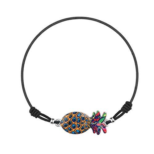 Made by Nami Armband Frauen Freundschaftsarmband Armbänder - Surfer Schmuck Damen mit Anhänger Ananas (Blau/Orange)