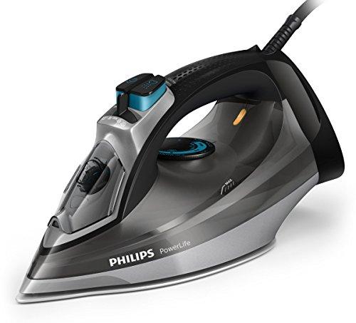 Philips Powerlife Dampfbügeleisen (Dampfbügelpresse, SteamGlide-Bügelsohle, 200g/min, schwarz, grau, 45g/min, 0,32L)