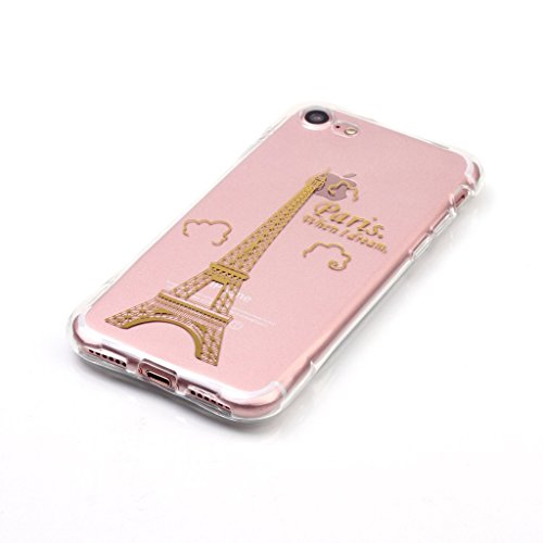 Uming® Copertura di caso della TPU colorful soft modello della stampa Case Cover ( Colorful Bling Line (Plum branch) - per IPhone7Plus IPhone 7Plus ) Sacchetto di caso della copertura della protezione Colorful Bling Line (Tower Paris)