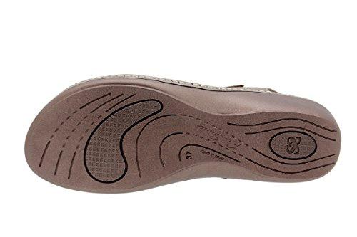 Scarpe donna comfort pelle PieSanto 1801 Sandali Plantare Estraibile larghezza speciale Taupe
