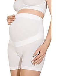 RelaxMaternity 5120 Pantalon corto de algodon premamámoldeador con faja de soporte abdominal para embarazadas
