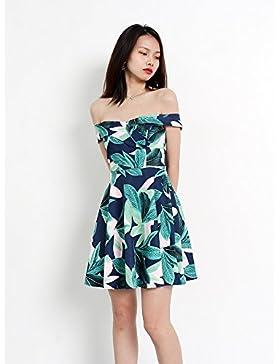 GAOLIM La Mujer Vestidos Primavera Vestidos De Hombro Impresos Island Beach Playa Faldas, L0.26Kg, Blue Print