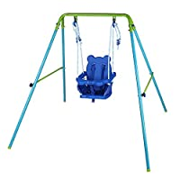 AH Blue Folding Swing Outdoor Indoor Swing Toddler Swing with safety Baby Seat for baby/chirldren