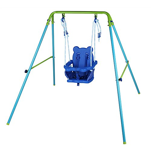 AH Blue Folding Swing Outdoor Indoor Swing Toddler Swing with safety Baby Seat for baby/chirldren's Gift