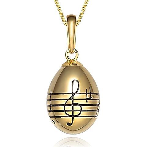 TF breloque en argent sterling 925collier avec pendentif œuf notation musicale–Ton or