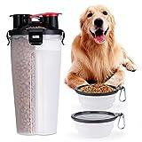 Borraccia Bottiglia Acqua per Cani, Bottiglia Viaggio Portatile per Animali Domestici con 2 Ciotola Pieghevole Perfetto per Passeggiare, Viaggio, Turismo A Piedi, Campeggio