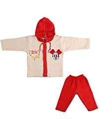 LK Vyapaar Pvt Ltd Unisex Cotton Winter Wear 2 Piece Hoodies (FIT-P174-WINT-HOOD-RED-L-5_9 - 12 Months)
