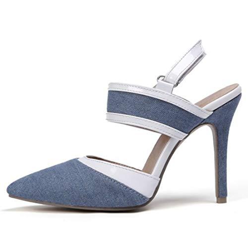WQQXXX Damen Sommer Denim Stoff Farbabstimmung Hohl Persönlichkeit Arbeit Sexy Sandalen High Heels Große Größe 34-46,Light blue-EU44 -