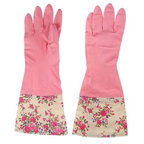 B Baosity Spülhandschuhe Blumen Haushaltshandschuhe gefüttert Gummihandschuhe Latexhandschuhe - Pinke Blume