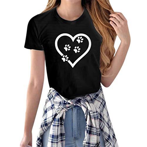 iHENGH Damen Top Bluse Bequem Lässig Mode T-Shirt Frühling Sommer Blusen Frauen Mädchen beiläufiges Crewneck übersteigts(Schwarz, S) -