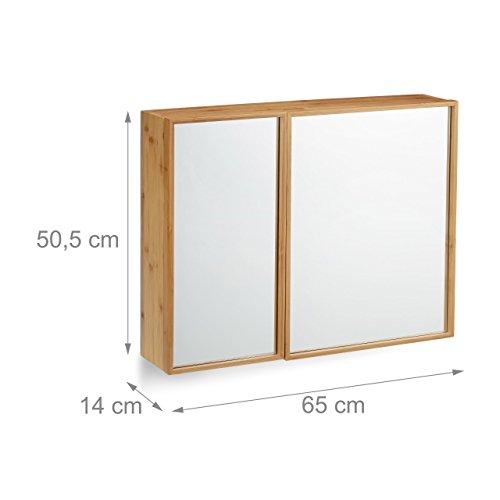 Relaxdays Bad Spiegelschrank 2-türig, Wandschrank aus Bambus, vormontierter Badschrank HxBxT: 50 x