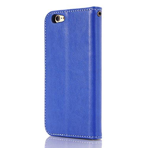 Pheant® Apple iPhone 6/6S (4.7 Zoll) Étui en PU Cuir Coque Gel étui à rabat Pochette avec Refermable Interne Magnétique Papillon Motif de daufrage Bleu