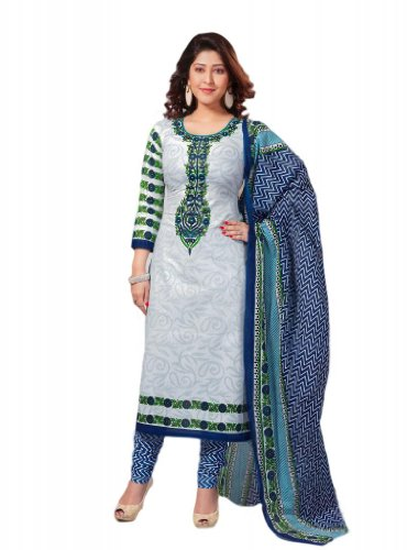 Salwar Studio Womens Cotton Unstitched Salwar Suit Dress Material (S-403 _White & Blue _Free Size)