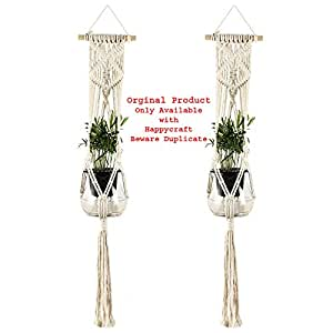 Happycraft Macrame Plant Hanger Cotton Rope Wall Hanging Planter Flower Pot Basket Holder with Key Ring for Ceiling Outdoor Garden Home Decor -2 Pack