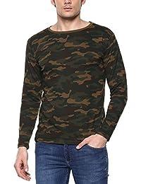 Urbano Fashion Men's Green Camouflage Round Neck Full Sleeve T-Shirt