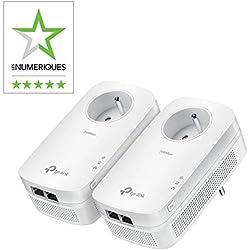 TP-Link CPL 2000 Mbps avec 2 Ports Ethernet Gigabit et Prise Intégrée, Kit de 2 - Solution idéale pour profiter du service Multi-TV à la maison (TL-PA9025P KIT)