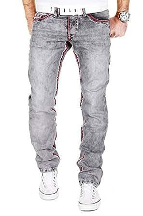 MERISH Jeanshose Herren Chino Jeans Hose DENIM Straight Fit Blue Trend J9574 Grau 29/32