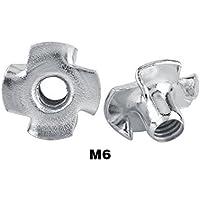 Tuercas de 4 Dientes Tuecas con 4 Garras de Acero al Carbono Tuercas de T Prisionera para Carpintería M3 / M4 / M5 / M6 / M8(M6(50 pcs))