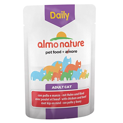 ALMO NATURE Daily Cat Food with Chicken and Beef, 70 g, Pack of 30