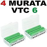 enkviSten 4er Pack MURATA VTC6 Sony Konion Akku Batterien Li-Ion / 3,7V - in Premium Akku Box für Akkus