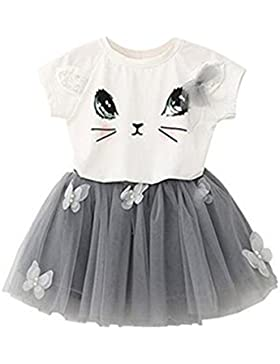 puseky Baby Girl Cute Cat T-Shirt + Schmetterling Netz Bubble Rock Kinder Kleidung SET
