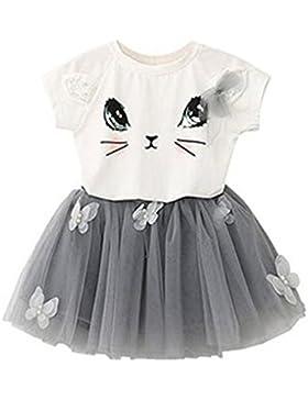 puseky Baby Girl Cute Cat T-Shirt + Schmetterling Netz Bubble Rock Kinder Kleidung SET
