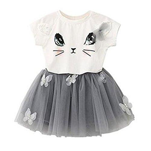 puseky Baby Mädchen Cute Cat Shirt + Schmetterling Netz Bubble Rock Kleinkind Kleidung Set