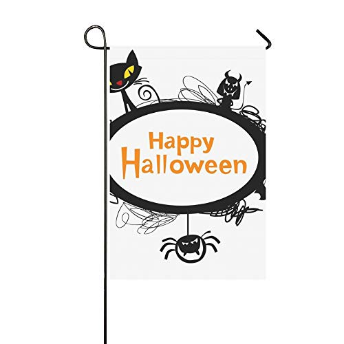 Kopie Katze Kostüm - Home Dekorative Outdoor Doppelseitige Halloween Rahmen Silhouetten Schwarze Katze Garten Flagge, Haus Hof Flagge, Garten Hof Dekorationen, saisonale Willkommen Outdoor Flagge 12 X 18 Zoll Frühling Som