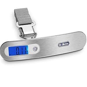Dr.Meter® ES-PS03 110lb/50kg Scala Digitale Pesa Bagagli Display LCD, Retroilluminazione Blu con Funzioni di Tara, Blocco dei Dati, Auto Spegnimento