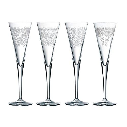 Spiegelau & Nachtmann, 4-teiliges Sektflöten-Set mit zarten Ornamenten, Kristallglas, 165 ml,...