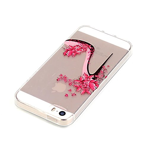 Vandot Ultra-thin Ultra-Light Mince TPU Silicone Gel Doux Etui Coque Housse Case Cover Couvrir Couverture Colour Printting Motif Housse Hull Coquille pour iPhone SE / iPhone 5 5S Effacer Clair transpa Motif-7