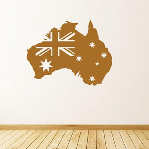 Bandiera australiana In Australia Mappa Resto del Mondo Wall Stickers Home Art Stickers disponibile in 5 dimensioni e 25 colori Grande