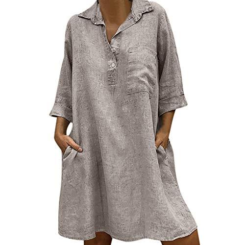 Elegante kleider Damen Kleid Cocktailkleider Ronamick Solide Boho Turn-Down-Kragen Kleid 3/4 Ärmel lässig Tasche Taste Kleid für Damen(XXXXXL, Khaki) -