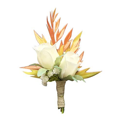 Hochzeit Seide Blume Ansteckblume Bräutigam Braut Knopflochblume für Anzug Hochzeit Bräutigam Size 12cm*6cm ()