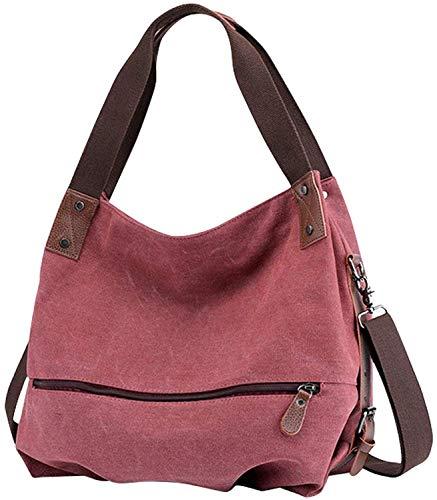 Canvas Tasche,Fanspack Crossbody Canvas Umhängetasche Hobo Bag Damen Schultertasche Crossbody Tasche Handtasche Mädchen Hobo Tasche (Rot)