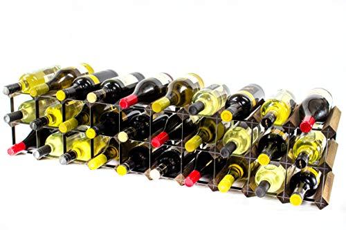 Klassische 20/30 Flasche Schrank Oben Nussbaum gebeizt Holz und schwarzem Metall Weinregal fertig montiert -
