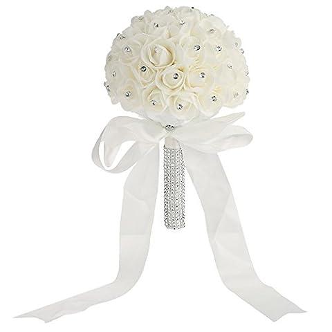 Anself Wedding Bouquet Artificial Rose Bouquets Beautiful White Ivory Bridal Bridesmaid Flower Crystal Rhinestone