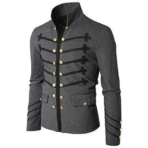 (Shujin Herren Frühling Herbst Frack Steampunk Jacke Button Down Gothic Blazer Military Stehkragen Victorian Mantel Outwear Kostüm Cosplay Uniform für Männer)