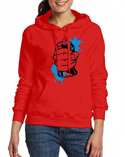A hand crushing a soda can Womens Hoodie Fleece Custom Sweartshirts Red