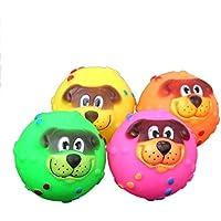 MIMOO Diseño Divertido 1 unid Perro de Dibujos Animados Squeaky Ball Giggle Ball Treat Training Masticar Juguete de Perro Juguete Interactivo Juego de Pelota