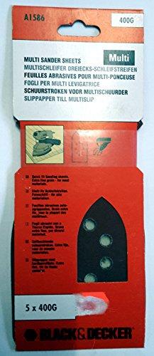 Black&Decker Klett-fix Schleifstreifen 2er Pack jeweil 5 x 400G Multischleifer Dreiecks-Schleifstreifen