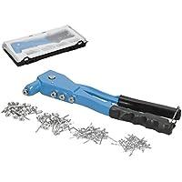 ECD Germany Remachadora Manual con 100 Remaches Ciegos DE 2,4 mm a 4,8mm en Caja de plástico Resistente