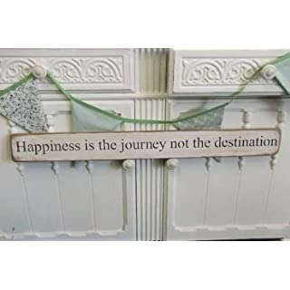 'Happiness is the journey not the destination' large handmade wooden sign by vintage product designer Austin Sloan