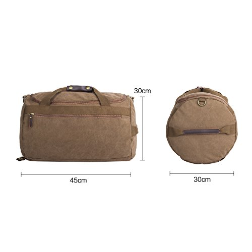 Eshow Herren Canvas Schulter Rucksack Umhaengetasche Backpack Sporttasche Reisetasche Kaffee 3