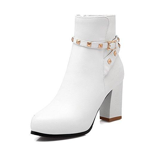 VogueZone009 Donna Bassa Altezza Cerniera Tacco Alto Scarpe A Punta Stivali con Metallo Bianco