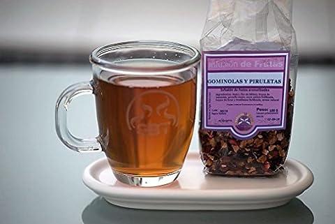 Infusion des fruits Gumdrops et sucettes saboreatéycafé 100 grammes. - à base de fruits déshydrater Infusion Tea - Idéale pour chaud ou froid comme boisson glacée - Un soda naturel et original pour les enfants pour le son goût agréable et le couleur - Décaféiné - Sureau, fleurs d'hibiscus, tranches de pomme, groseille, Mora entier lyophilisat, pièces de fraise et framboise lyophilisat, arômes naturels.