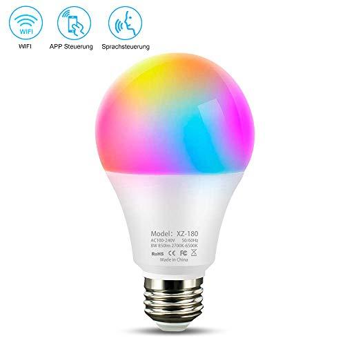 Wifi Smart Lampe,Wlan LED Dimmbar Glühbirne 8W,E27, 850LM Timing Funktion warmweiß bis tageslicht (2700K-6500K) Alexa Lampe steuerbar via APP kompatibel mit Alexa,Google Assistant