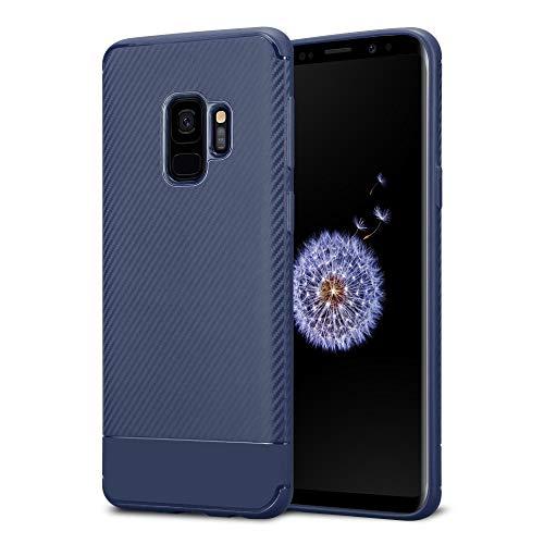 Kit Me Out DE® Galaxy S9 Schutzhülle TPU-Gel Carbonfaser Hülle Rückseite - stoßfest & robust - für Samsung Galaxy S9 - Blau