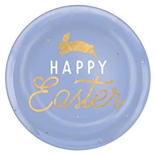 Amscan Happy Ostern Speiseteller, Kunststoff, Pastellblau, 10 Stück
